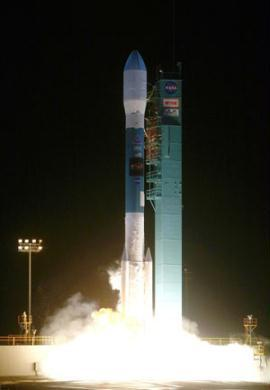 This NASA handout photo shows the United Launch Alliance Delta II rocket with NASA's Wide-field Infrared Survey Explorer, or WISE, satellite as it launches. NASA launched Monday a new breed of satellite called WISE on a mission to orbit Earth and map the skies to find elusive cosmic objects, including potentially dangerous asteroids.(Xinhua/AFP Photo)