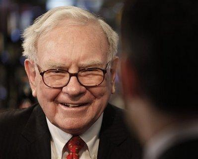 Berkshire Hathaway Chairman and CEO Warren Buffett is interviewed before lunch at Smith and Wollensky in New York, Monday, Feb. 22, 2010. The Canadian investment firm that paid $1.68 million last year to win lunch with billionaire investor Warren Buffett is about to collect its prize. The proceeds from Buffett's annual charity lunch auctions benefit the Glide Foundation, which provides social services to San Francisco's homeless and poor.(AP Photo/Seth Wenig) 