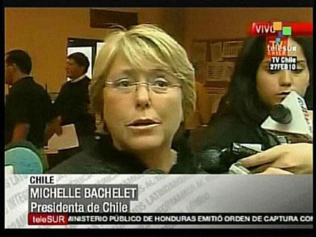 "Chilean President Michelle Bachelet announced that the country entered into ""disaster status"" in this February 27, 2010 video grab. A massive magnitude-8.8 earthquake struck south-central Chile early on Saturday, triggering a tsunami and rattling buildings in the capital Santiago. (Xinhua/AFP Photo)"