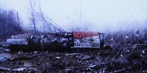 This TV grab taken on April 10, 2010 shows the crash site of a Tupolev Tu-154 plane carrying Polish President Lech Kaczynski near the Smolensk airport in western Russia. The plane carrying Polish President Lech Kaczynski crashed near the Smolensk airport Saturday, killing the president and all 132 people on board, said Russian officials. (Xinhua)