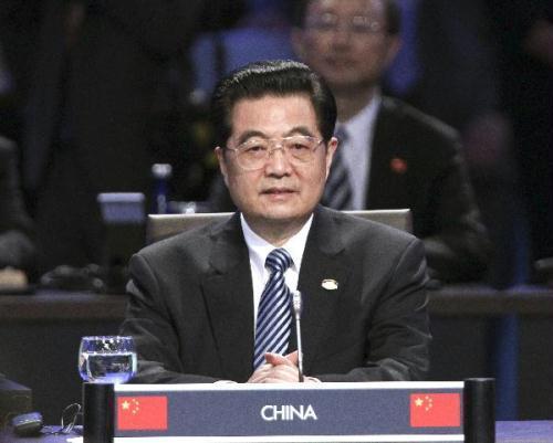 ChinesePresidentHuJintaoattendsthefirstplenarysessionoftheNuclearSecuritySummitattheWashingtonConventionCenterinWashington,April13,2010.(Xinhua/JuPeng)