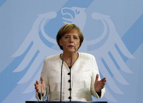 German Chancellor Angela Merkel makes a statement during a news conference at the Chancellery in Berlin June 9, 2010. (Xinhua/Reuters Photo)