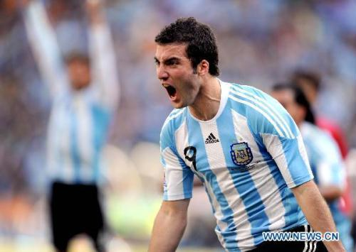 Argentina's Gonzalo Higuain celebrates scoring during a 2010 World Cup Group B match between Argentina and South Korea at the Soccer City stadium in Soweto, suburban Johannesburg, South Africa, on June 17, 2010. (Xinhua/Wang Yuguo)