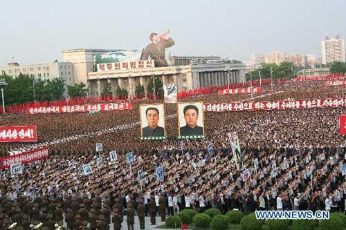 People attend an anti-U.S. rally at Kim Il Sung Square in Pyongyang, capital of the Democratic People's Republic of Korea (DPRK), June 25, 2010. More than 100,000 civilians and army soldiers on Friday attended the anti-U.S. rally in Pyongyang to mark the 60th anniversary of the 1950-53 Korean War. (Xinhua/Gao Haorong)