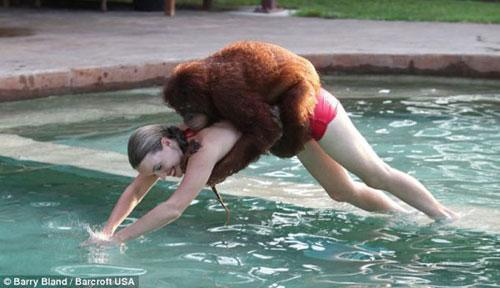 The 7-year-old orangutan Suryia loves taking a dip with his trainer Moksha Bybee. (Photo Source: sina.com)