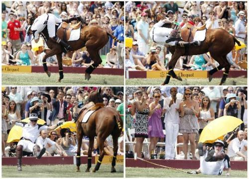 Britain's Prince Harry falls off his horse as he plays polo in the Veuve Clicquot Manhattan Polo Classic on Governor's Island in New York June 27, 2010.(Xinhua/Reuters Photo)