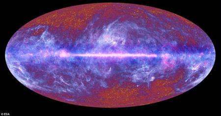 Amulti-colourall-skyimageofthemicrowaveskyisseeninthisJuly5,2010handout.TheimagewassynthesizedusingdataspanningthefullfrequencyrangeofthePlancksatellite,whichcoverstheelectromagneticspectrumfrom30to857Ghz.Avastportionofthesky,extendingwellaboveandbelowthegalacticplane,isdominatedbythediffuseemissionfromgasanddustintheMilkyWay,whichshinesbrightlyatPlanck'sfrequencies.(PhotoSource:ESA)