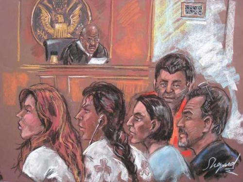 This drawing shows five of the 10 arrested Russian spy suspects in a New York courtroom.  (Xinhua/AFP Photo)