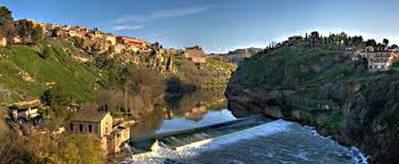 The River Tagus flowing through Toledo, Spain.