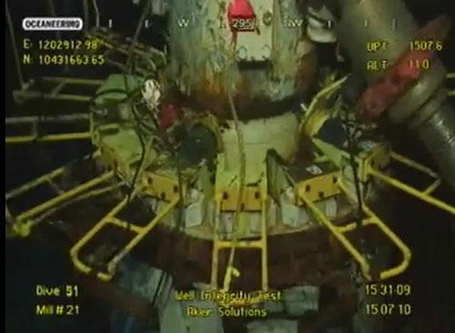 "The new containment cap is seen during the ""well integrity testing"" in the image grabbed from the BP's live video feed in the Gulf of Mexico, July 15, 2010. British oil giant BP said Thursday the new cap on well is fully closed and no oil is going into Gulf during the well integrity test conducted by the company. (Xinhua/BP LIVE FEED)"