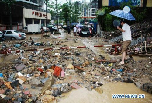 Photo taken on July 17 shows the trail of damage in Dazhou, southwest China's Sichuan Province Friday, which is hit by rainstorm.(Xinhua File Photo)