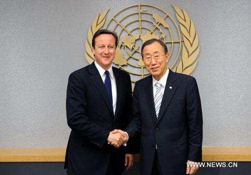 British Prime Minister David Cameron (L) meets with United Nations Secretary General Ban Ki-moon at the UN Headquarters in New York, the United States, on July 21, 2010. (Xinhua/Shen Hong)