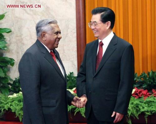 Chinese President Hu Jintao (R) meets with Singaporean President S. R. Nathan in Beijing, capital of China, Aug. 18, 2010.(Xinhua/Ma Zhancheng)