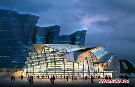This handout photo of a sketch released by MTR Corporation shows a night view of the new West Kowloon Terminus in Hong Kong, south China. The new West Kowloon Terminus in Hong Kong for the Guangzhou-Shenzhen-Hong Kong Express Rail Link will feature a people-oriented design with environmentally-friendly features, said MTR Corporation on Tuesday. (Xinhua photo)