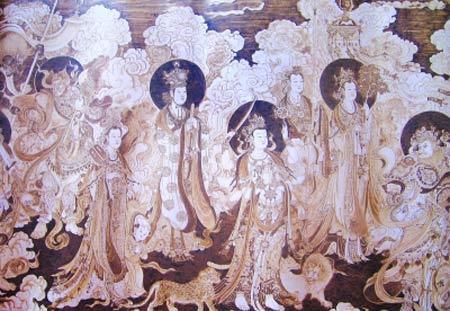 刘长来用烙铁绘制的法海寺壁画(局部)