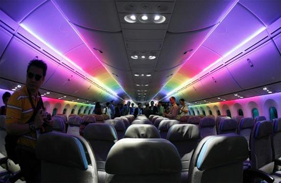 The Economy Class Cabin Of The Boeing 787 Dreamliner Is Lit With Rainbow  Colored LED Lighting During An Media Tour Of The Aircraft Ahead Of The  Singapore ...