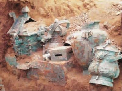 """新出土的3000年前酒器,下方长方形器皿为""""禁"""""""