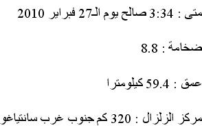المعلومات عن الزلزال