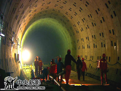 2008年11月16日,<br>世博园隧道施工。