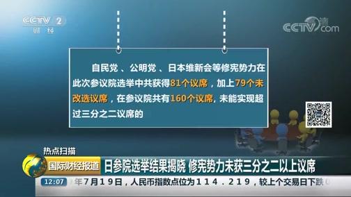 [国际财经报道]热点扫描 日参院选举结果揭晓 修宪势力未获三分之二以上议席