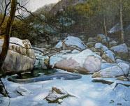 崂山初雪--水彩