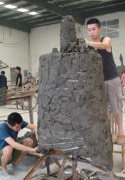 宋如、沈锐、郑昌大团队泥塑创作作品《启承》