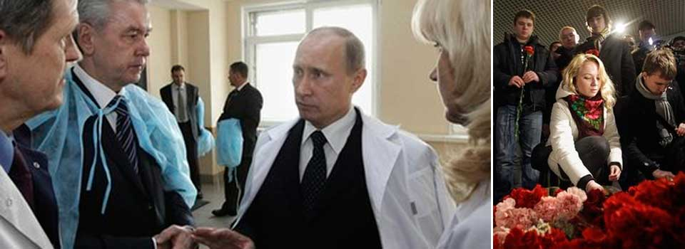 Putin and Medvedev visit blast victims