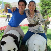 July 13th - Very excited to see my fellow host, Greta! Haha. We´re riding a panda bear and polar bear.