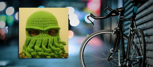 搞笑 骑车/搞笑章鱼头套骑车族冬季必备