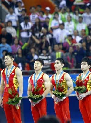 <b><font color=red>1金:</font></b>中国体操男团问鼎十连冠