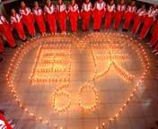"""河南:365支蜡烛燃""""国庆"""""""