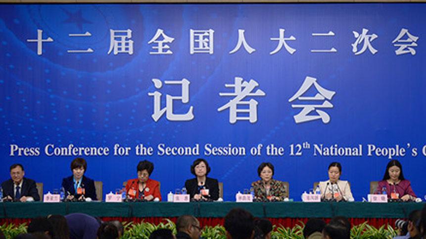 """六位女代表就""""社会文明进程中女性发展权益保护""""答记者问"""