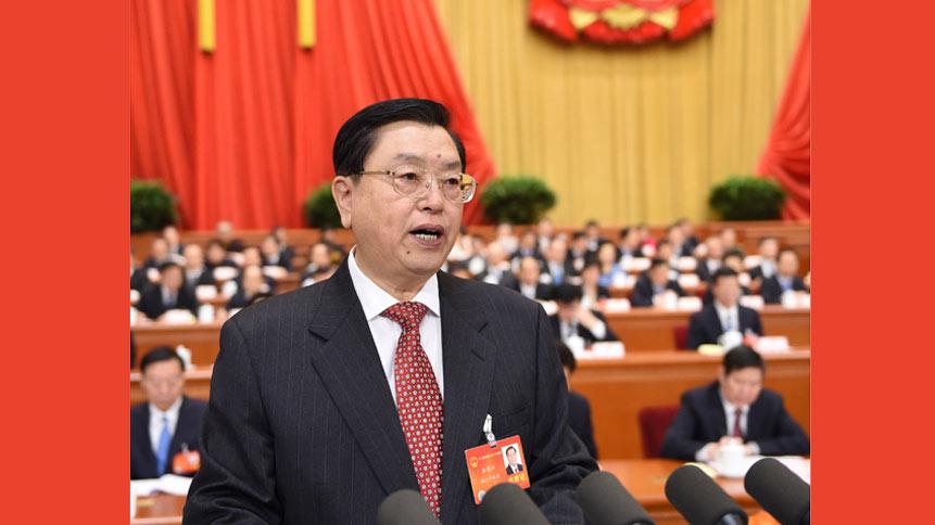 十二届全国人大二次会议举行第二次全体会议 张德江作全国人大常委会工作报告