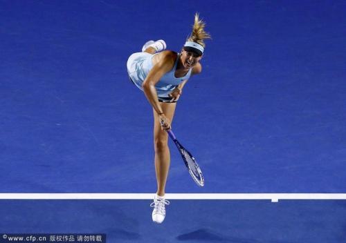 [高清组图]莎拉波娃胜马泰克 晋级女单第二轮