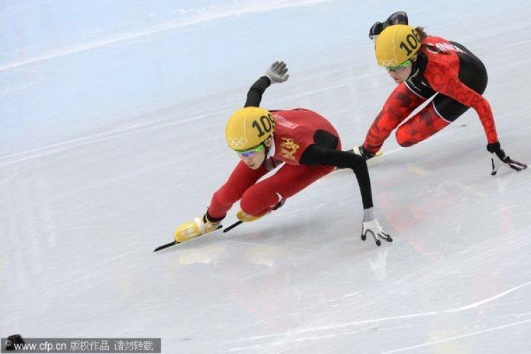 [高清组图]短道女子500米预赛 中国三将携手晋级