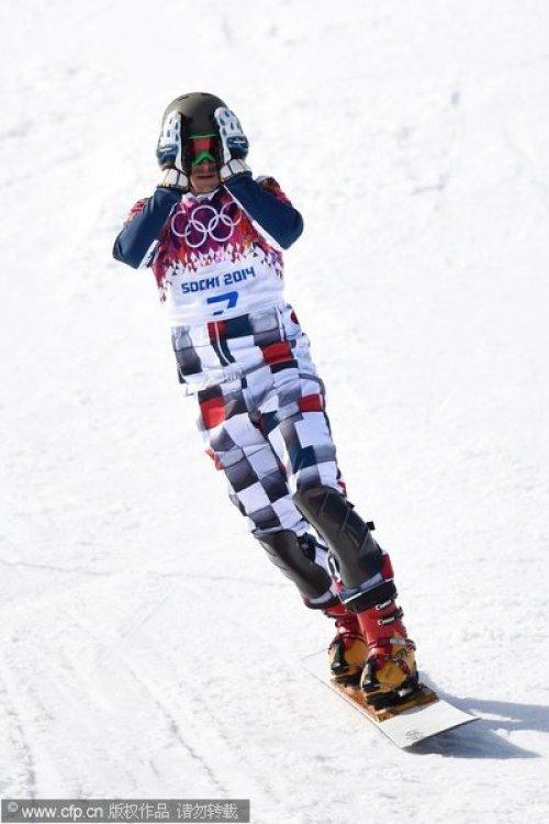 [高清组图]单板滑雪男子平行大回转 维尔德夺金