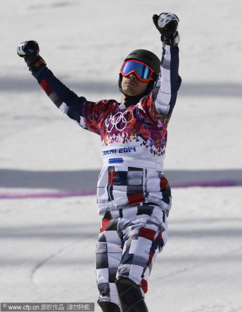 [高清组图]单板滑雪男子平行回转 维尔德获第二金