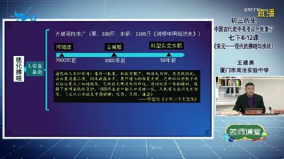 初三歷史:中國古代史中考考點一輪復習:七下6-12課《宋元——現代的拂曉與挑戰》 00:39:41