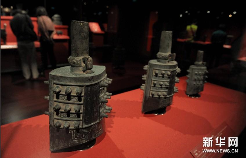 10月8日拍摄的在台北故宫展出的西周文物。