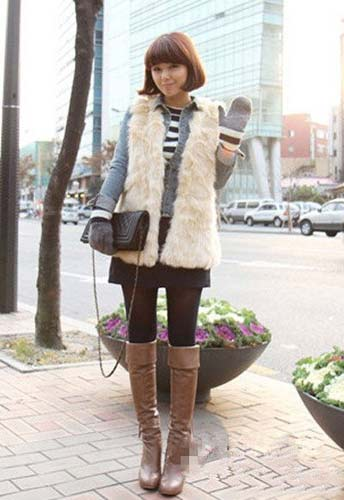 冬季马甲怎么搭配 韩国女生街拍来支招