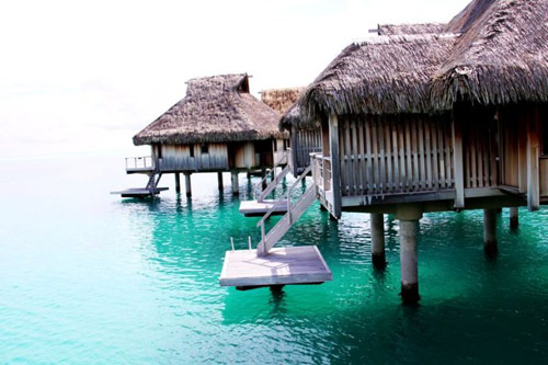 每一间水上屋都有自己的一个小平台 从这里纵身一跳,就和最透彻的海水亲密接触了
