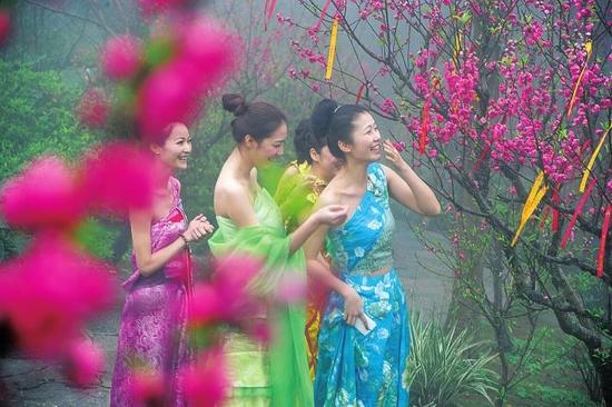 南宁花花大世界,青秀山风景区桃花节活动盛大开启