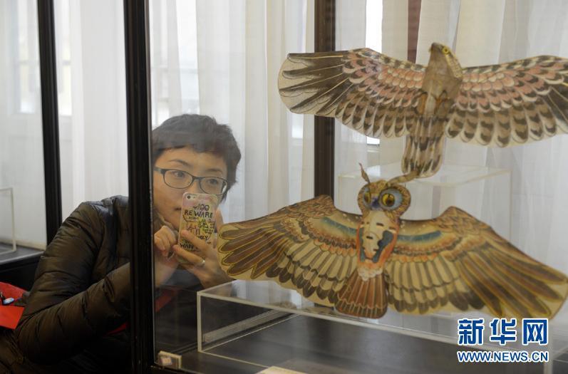 4月4日,游客在展览上拍摄民国时期的用于娱乐的猫头鹰风筝。