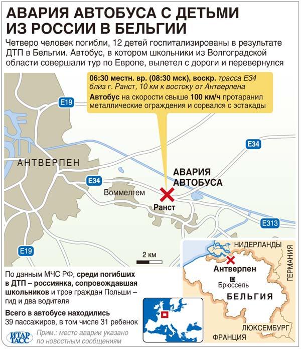 Авария автобуса с детьми из России в Бельгии