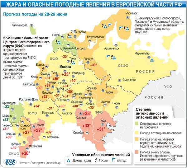 Жара и опасные погодные явления в европейской части РФ