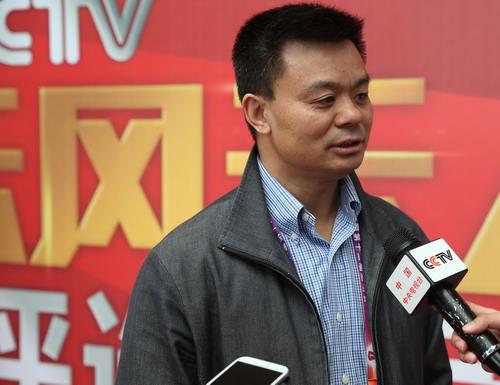 中央电视台体育频道总监江和平接受媒体采访