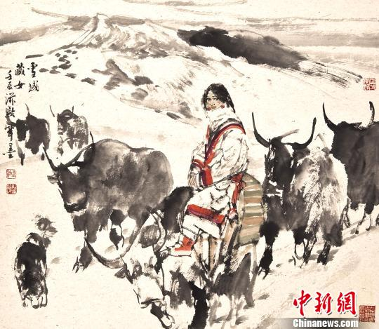 中央文史研究馆书画院院部委员杜滋龄的《塔吉克姑娘》 石龙洪 摄