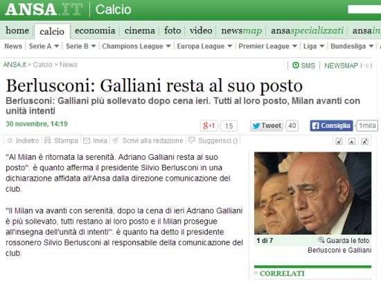 安莎社:贝卢斯科尼宣布加利亚尼留下