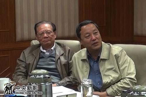 中央新影集团副总裁安为民(右),原中国新闻社副社长、著名纪录片评论家陈光忠参加会议