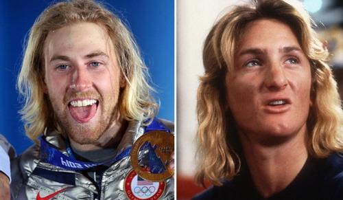 8本届冬奥会首金获得者美国单板滑雪运动员科腾斯伯格(左)与82年经典电影《开放的美国学府》中肖恩-潘扮演的斯皮克里(右)
